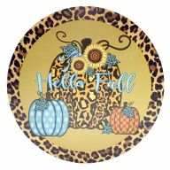 "12"" Round MDF Leopard Print ""Hello Fall"" Pumpkin / Sunflower Sign"