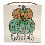 """10"""" X 10"""" MDF """"Hello Fall"""" Leopard Print Pumpkins Sign w/ Rope"""