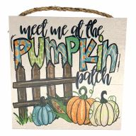 """10"""" X 10"""" MDF """"Meet Me At The Pumpkin Patch""""  Sign w/ Rope - Orange / Blue / Green"""