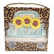 """10"""" X 10"""" MDF Leopard Print """"It's Fall Y'all"""" Truck w/ Sunflowers Sign w/ Rope"""