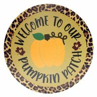 """12"""" Round MDF Leopard Print """"Welcome To Our Patch"""" Orange Pumpkin Sign"""