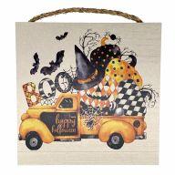 "10"" X 10"" MDF ""Boo / Happy Halloween"" Truck w/ Pumpkins Sign w/ Rope"