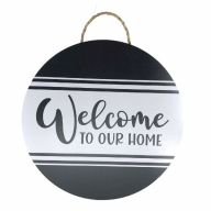 """18"""" Round MDF """"Welcome To Our Home"""" Stripped Sign w/ Rope"""