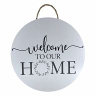 """18"""" Round MDF """"Welcome To Our Home"""" Wreath Sign w/ Rope"""