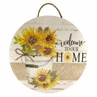 """18"""" Round MDF """"Welcome To Our Home"""" Sunflower Sign w/ Rope"""