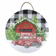 """18"""" Round MDF Red """"Merry Christmas"""" Barn Sign w/ Rope"""