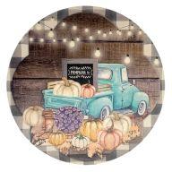 """12"""" Round MDF Truck w/ Pumpkins Sign"""