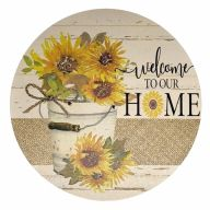 """12"""" Round MDF """"Welcome To Our Home"""" Sunflower Sign"""