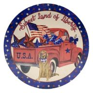 """12"""" Round MDF """"Sweet Land Of Liberty"""" Sign"""