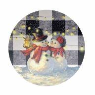 "12"" Round MDF Snowman Couple Sign"