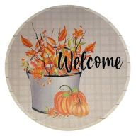 """12"""" Round MDF """"Welcome"""" Pumpkin Floral Pail Sign"""