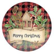 "12"" Round MDF ""Merry Christmas"" Red / Black Plaid Christmas Sign"