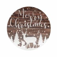 """12"""" Round MDF """"Merry Christmas"""" Deer And Trees Sign - Brown / White"""