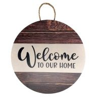 """18"""" Round MDF """"Welcome To Our Home"""" Stripped Wood Print Sign w/ Rope"""