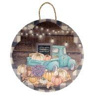 """18"""" Round MDF Truck w/ Pumpkins Sign w/ Rope"""