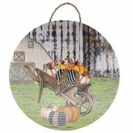 "18"" Round MDF Fall Pumpkin Wheelbarrow Barn Sign w/ Rope"