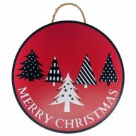 """18"""" Round MDF """"Merry Christmas"""" Trees Sign w/ Rope - Red / Black / White"""
