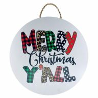 """18"""" Round MDF """"Merry Christmas Y'all"""" Sign w/ Rope"""
