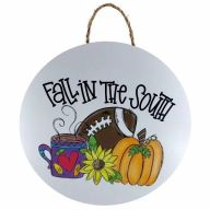 """18"""" Round MDF """"Fall In The South"""" Sign w/ Rope"""