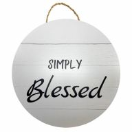 """18"""" Round MDF """"Simply Blessed"""" Sign w/ Rope - Black / White"""