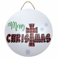 """18"""" Round MDF Plaid """"Merry Christmas"""" w/ Snowflakes Sign w/ Rope"""