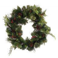 "18 "" Fresh Pine Mix Wreath W Cones & Berries"
