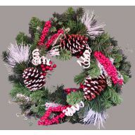 """24 """" White Top Cone Foam Berry Frost Needle Pine Snowy Coil Wreath"""