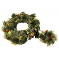 "S / 2 Wreath Glitter Plastic Needle Cedar / Euc / Nut / Cone 24"" Wreath / 3 "" Candlering"