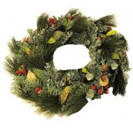 """24"""" Wreath Glitter Plastic Needle Cedar / Euc / Nut / Cone"""