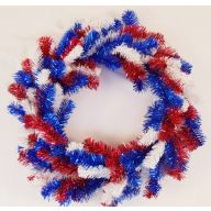"20 "" Elevated Wreath 135 Tips - Red / White / Blue"