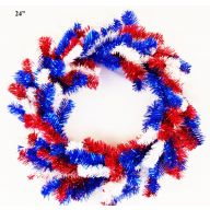 "24"" ELEVATED PINE WREATH DOUBLE RING 160 TIPS - RED / WHITE / BLUE"