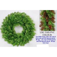 """24 """" Elevated Metallic Wreath 160 Tips - Red / Green"""