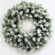 "24"" Elevated Flocked Pine Wreath 150 Tips"