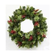 """24 """" Grizzly Pine Wreath Berries Cones 130 Tips"""