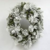 """24"""" ELV Frosted Holiday Pine Wreath w/ Pinecones 114 Tips"""