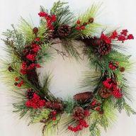 "24"" TT Pine w/ Berries Pinecone Wreath"