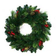"24 "" Bear Mountain Wreath W / Cones & Berries 108 Tips"