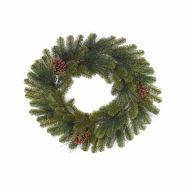 """24"""" Wreath 113 Tips w/ Cones and Leaf"""