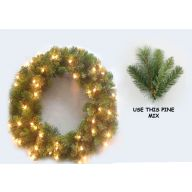"42"" LIGHTED ELEVATED DESIGNER PINE WREATH (SHIPS BY PALLET ONLY)"