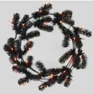 "24"" ELEVATED WORK WREATH MIXED PINE BLACK W/ORANGE TWINKLE LIGHTS"