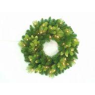 "24"" Prelit Luxe Wreath X144 Tips w/ Cones & 50 Clear Lights"