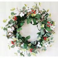 "24"" Eucalyptus Poly Cotton Berry Wreath"