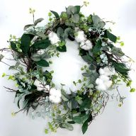 "24"" Eucalyptus Poly Cotton Wreath"