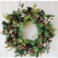 "24"" Pine Eucalyptus Berries Pine Cone Wreath"