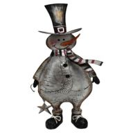 "9.75 "" x 3.75 "" x 17.5 "" Metal Snowman Decor"
