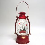 "4.25 X 6 X 9.5 "" Lantern w/ Truck / Red Bird / Swirling Snow - Red / Gold Brush"