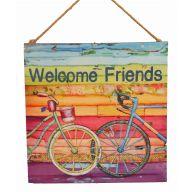 Welcome Friends Bike Plaque