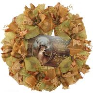 "24 "" Premade Mesh Hunting Wreath - As the Deer Longs For Streams of Water , So my Soul Longs for You Oh God"