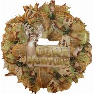 "24 "" Premade Mesh Hunting Wreath - Gone Hunting"