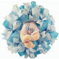 "24 "" Premade Mesh Its a Boy Baby Light Skin Bottom Wreath"